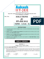 Analysis and Solution for Iit Jee 2012