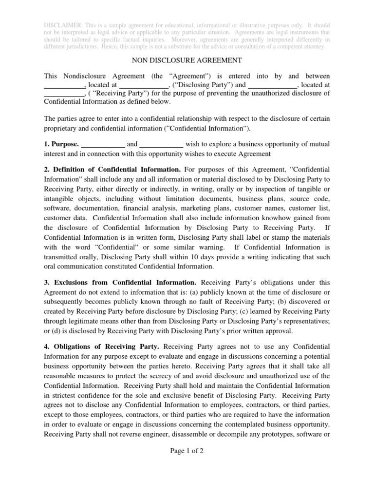 sample non disclosure agreement non disclosure agreement confidentiality