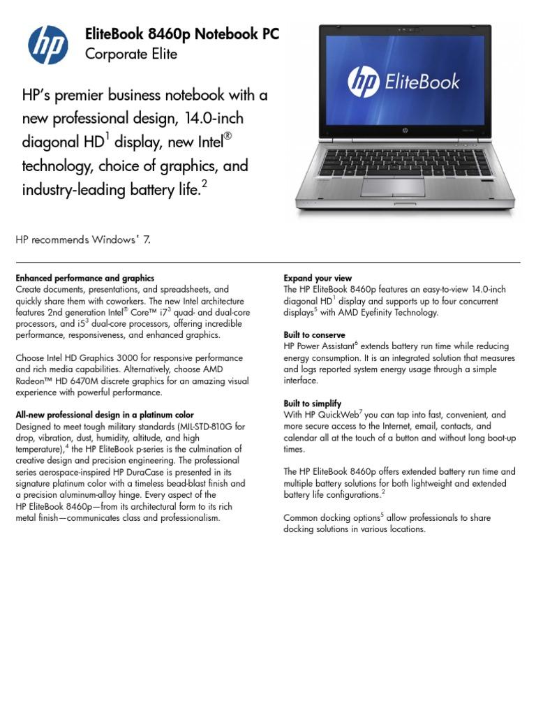 HP Elitebook 8460p Datasheet | Laptop | Intel