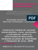 Presentación Tesis - Control de Calidad de Vacunas contra la Enfermedad de Newcastle, mediante Pruebas de Esterilidad y Titulación de Virus
