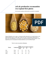 Tabel de calorii ale produselor recomandate pentru regimul fără gluten