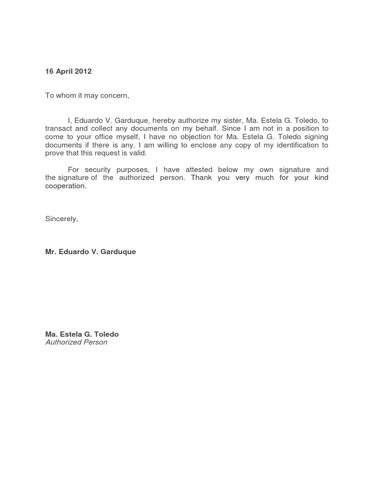 Authorization Letter – Sample Authorization Letter