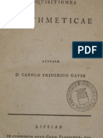 Discuciones aritméticas Carl Friedrich Gauss