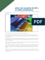 Microsoft Pide a Usuarios de XP y Office Actualizarse 2012