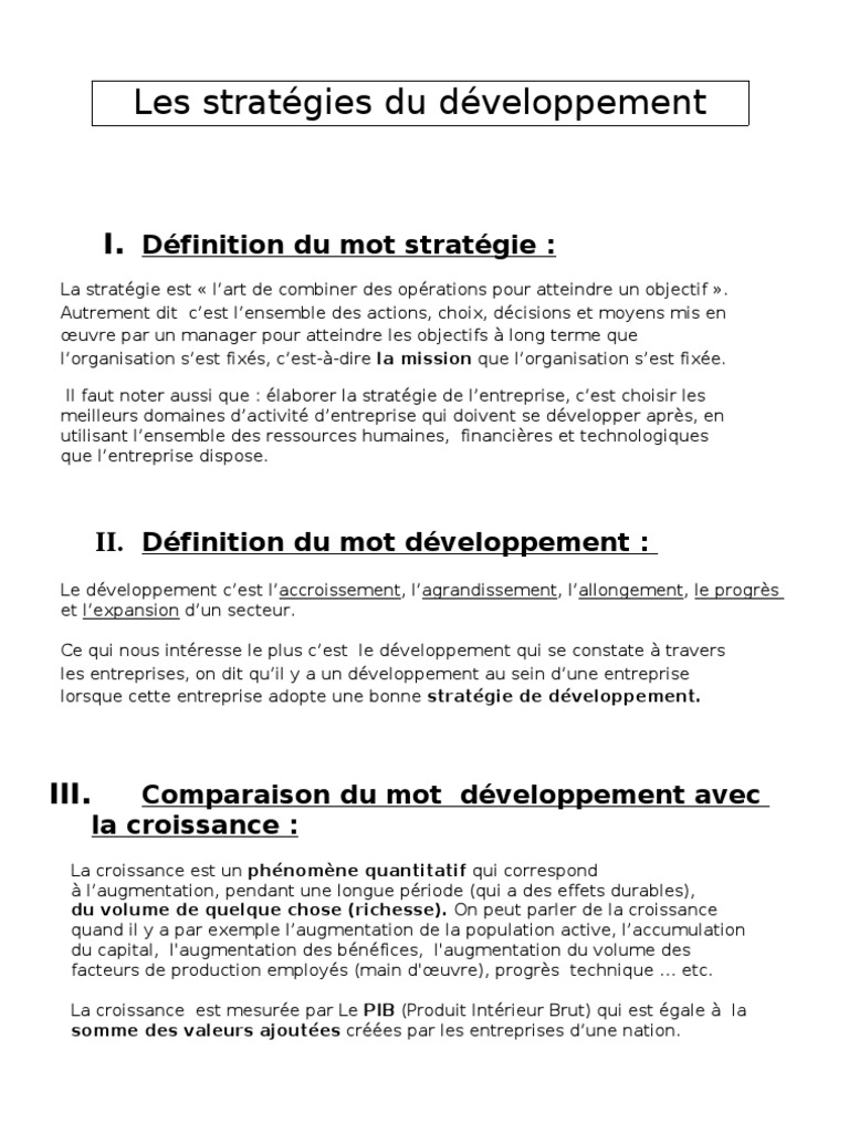 Strategies De Developpement Rapport