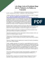 Carta Pública de Diego Arria al Presidente Hugo Chávez sobre la Violencia y la Política en Venezuela