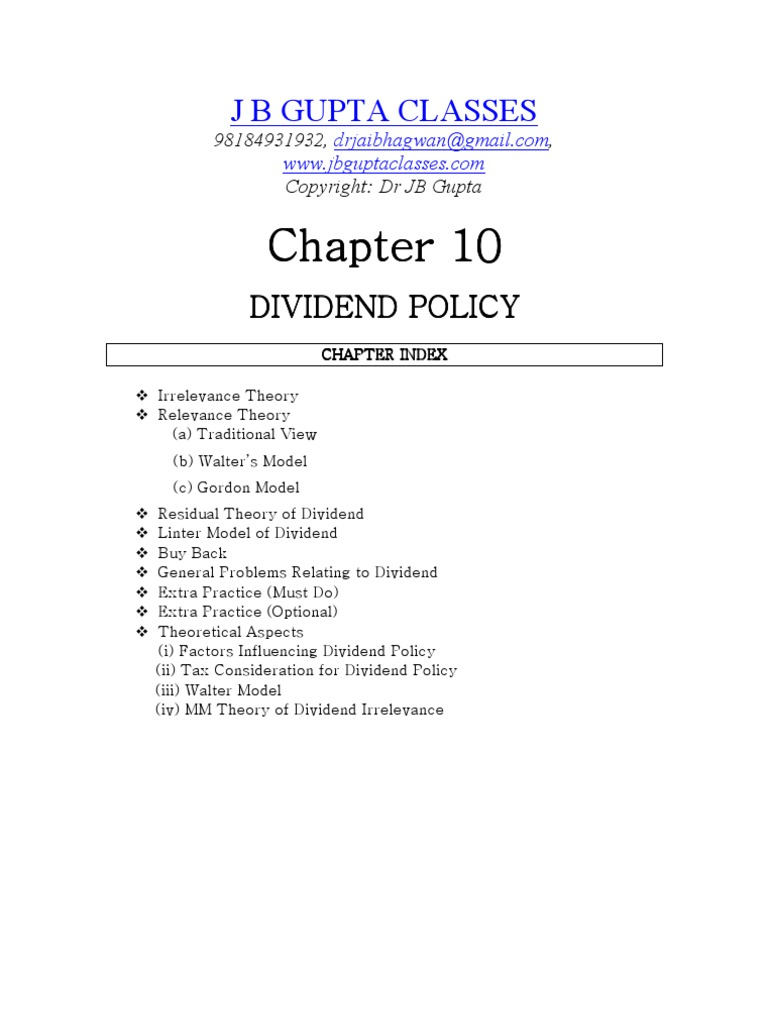 Chapter 10 Dividend Policy 1 Cost Of Capital Share Repurchase