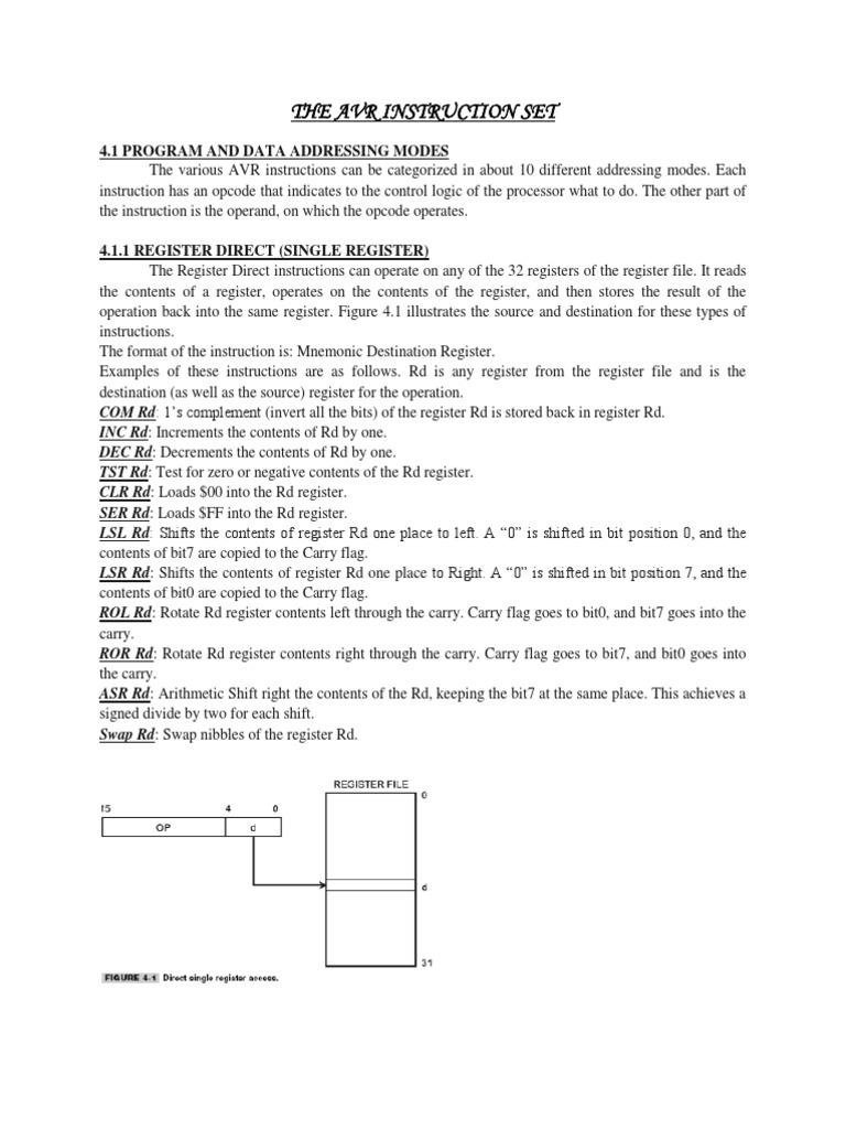 The Avr Instruction Set Instruction Set Pointer Computer