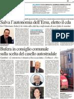 Salva l'autonomia dell'Ersu, eletto il cda - Il Resto del Carlino del 10 maggio 2012