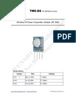 TWS-BS-3 433.92MHz ASK RF Transmitter Module Data Sheet