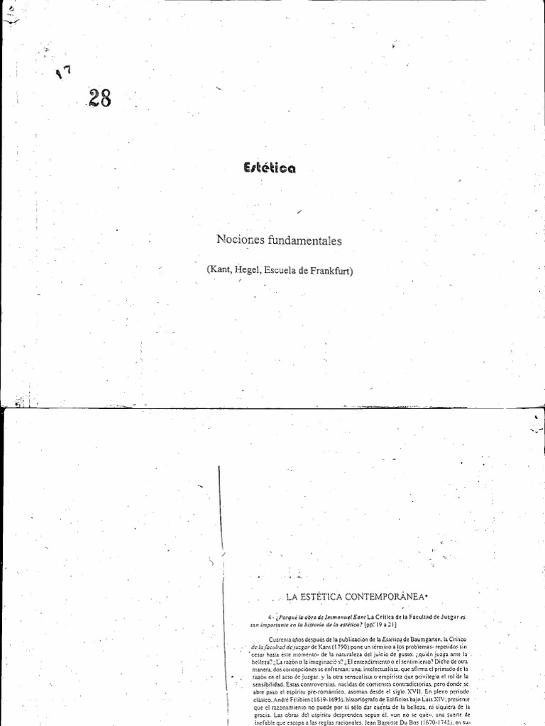 Estética.Nociones fundamentales (Kant, Hegel, Escuela de Frankfurt)
