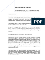 SFA- Rangers Note of Reasons