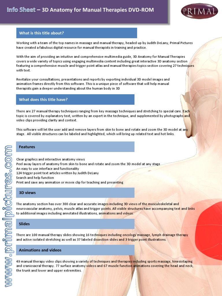 Leaflet 3D Anatomy for Manual Therapies DVD-ROM   Massage   Manual ...