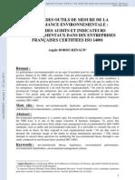 Le Role Des Outils de Mesure de La Performance Environnementale