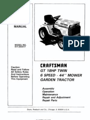 [FPWZ_2684]  23302-Craftsman GT18 Garden Tractor 917.255917 | Tractor | Belt (Mechanical) | Wiring Diagram Sears Gt18 |  | Scribd