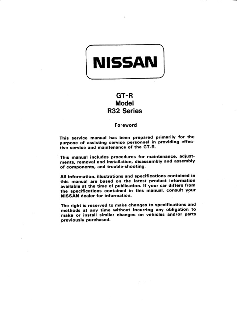 Nissan Gtr32 Main Harness Wiring Diagram Great Installation Of Altima Gtr R32 Service Manual Belt Mechanical Four Wheel Drive Rh Scribd Com Pdf Alternator