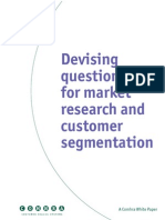Devising Questionnaire for Market Research and Customer Segmentation
