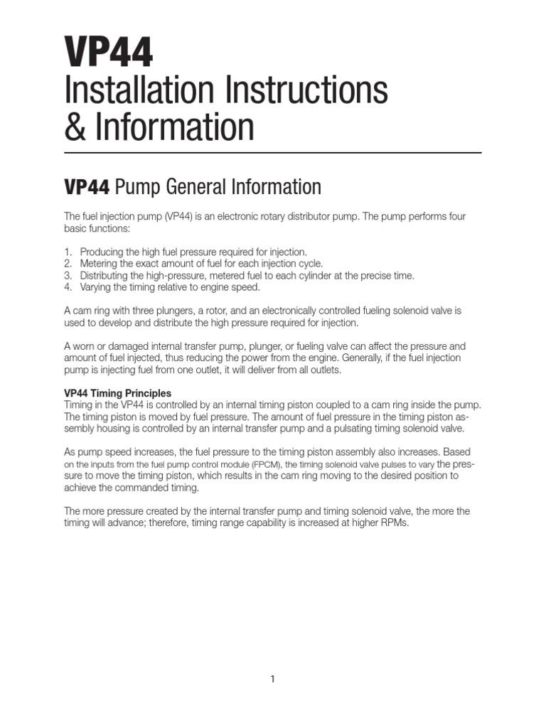 VP44 Install | Bomba | Válvula