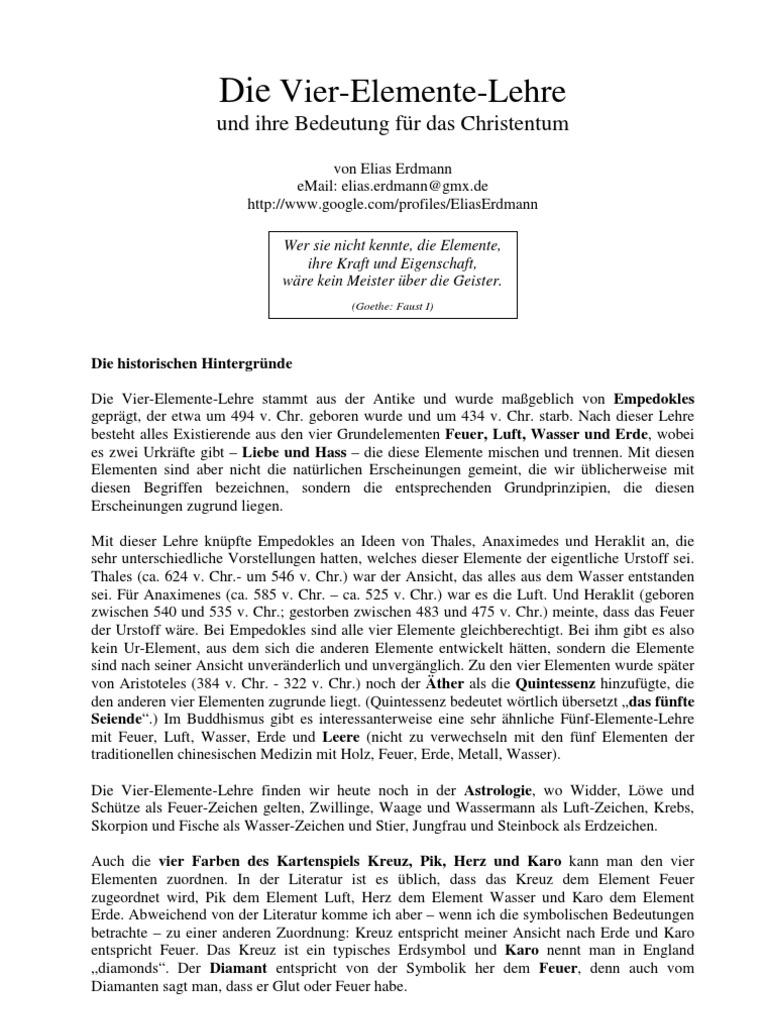 Elias Erdmann - Die Vier-Elemente-Lehre und ihre Bedeutung