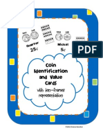 Coin Identification and Value Activity Cards With Ten Frames
