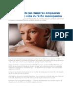 Mujeres Empeoran Calidad de Vida Durante Menopausia