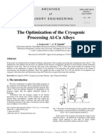 The Optimization of the Cryogenic Processing Al-Cu Alloys