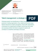 Talent Management a Strategic Imperative
