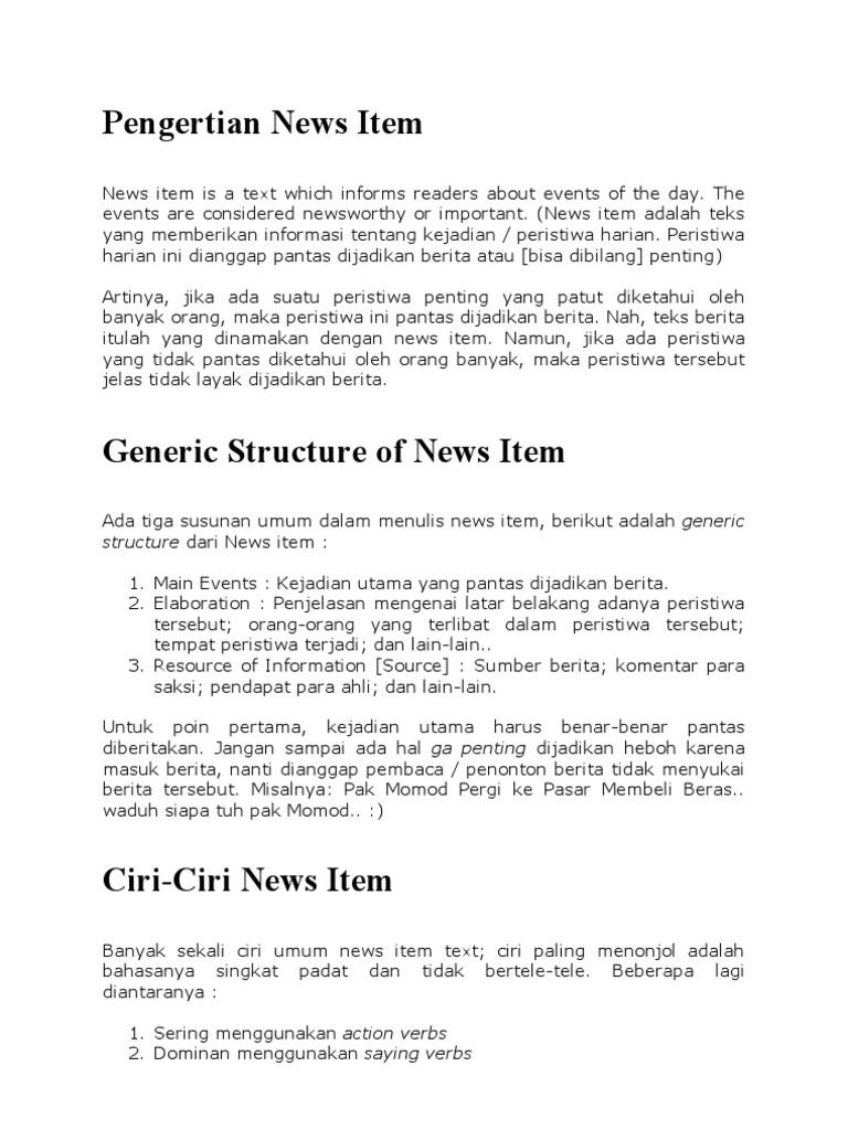 Contoh news item text dan strukturnya