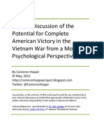 A Short Discussion of the Potential for Complete American Victory in the Vietnam War from a Moral-Psychological Perspective