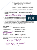 Solubility Product Notes