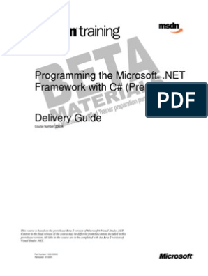 2349 Programming the Microsoft  NET Framework With C#(Prerel | Class
