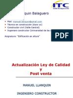 Ley de Calidad y Post venta Clase Nº 1