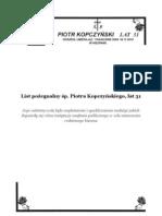 List Pozegnalny Piotra Kopczynskiego