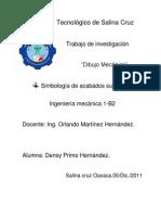 SIMBOLOGÍA DE ACABADOS SUPERFICIALES