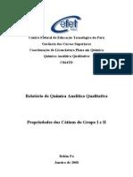 Química Analítica Qualitativa - Relatório - Propriedades dos Cátions do Grupo I e II