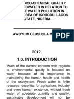 THE PHYSICO-CHEMICAL QUALITY OF GROUNDWATER IN RELATION TO SURFACE WATER POLLUTION IN MAJIDUN AREA OF IKORODU, LAGOS STATE, NIGERIA.