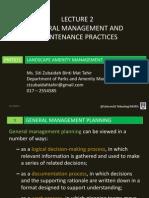 Lecture 2 - General Management & Maintenance Practices