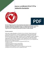Implementarea certificării HACCP în industria lactatelor