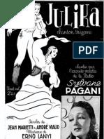 Erno Lanyi - Julika Chanson Tzigane 1938 Sylvane Pagani Sheet Music