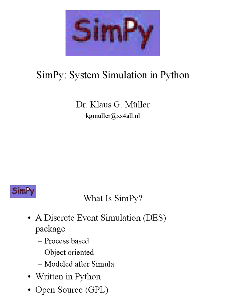 SimPy Paper | Application Programming Interface | Simulation
