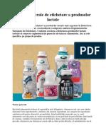 Norme generale de etichetare a produselor lactate