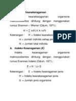 Indeks Keanekaragaman Benthos