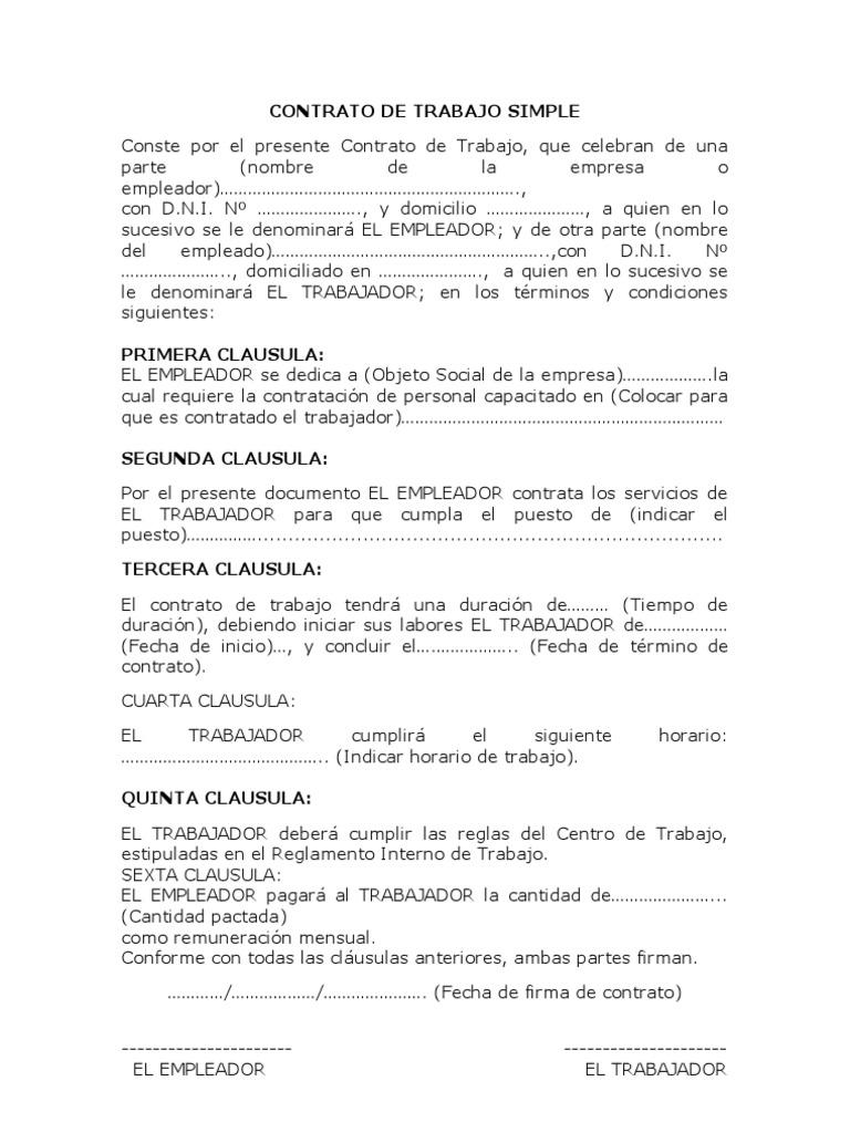 Único Plantilla De Contrato Por Word Galería - Ejemplo De Colección ...