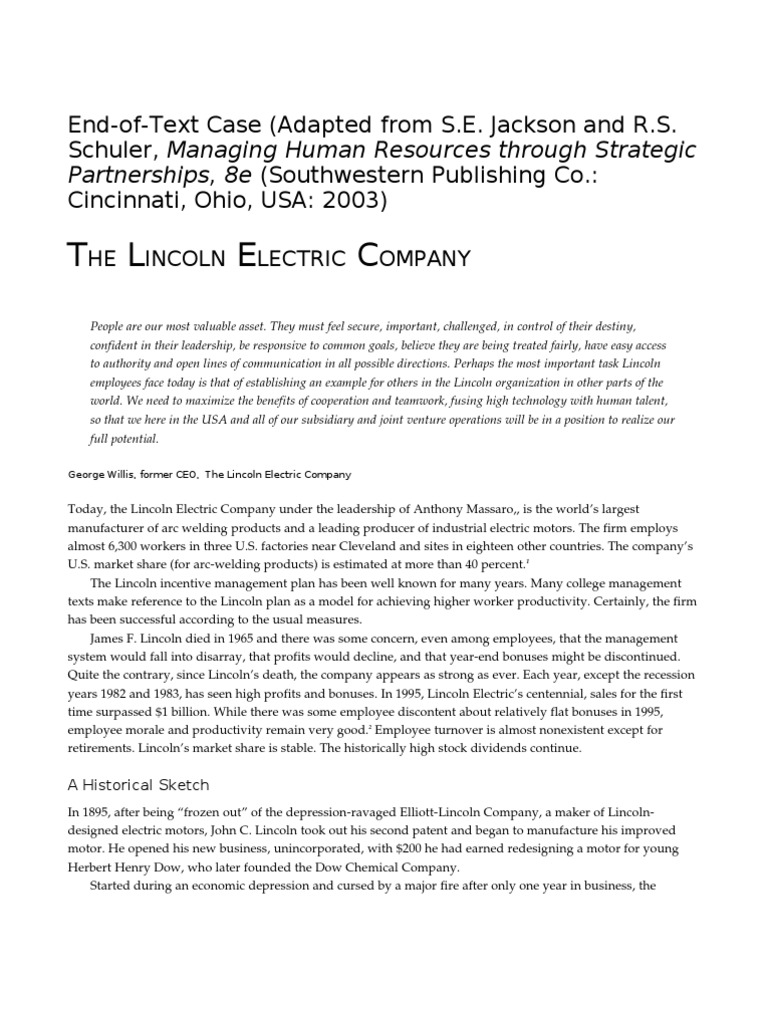 executive summary about lincoln electric company