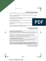 Mazda Mpv Owners Manual 2002