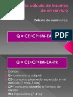 administracion - diapos soy la 4 Formula cálculo de insumos de un servicio