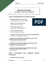 Resumen prensa CEU-UCH 13-05-2012