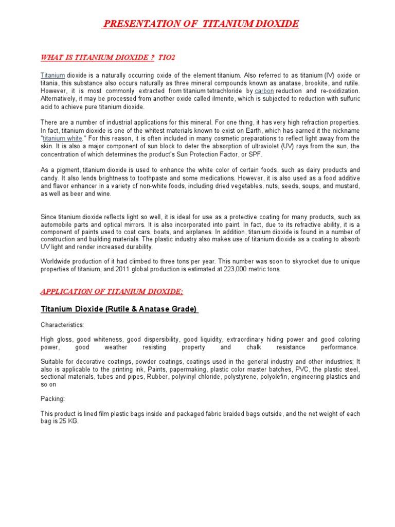 Presentation of Titanium Dioxide | Titanium Dioxide | Titanium