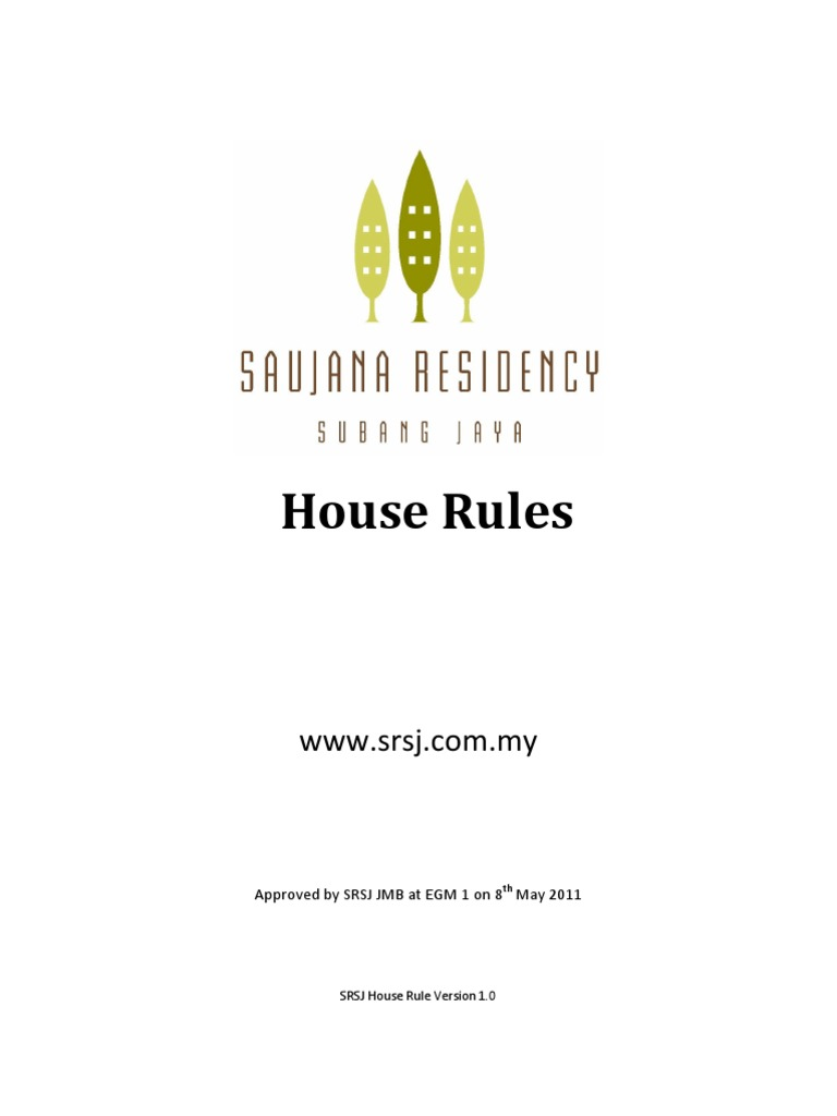 Sample House Rules | Identity Document | Indemnity