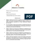 Orden del día del Pleno del Parlamento de Cantabria del 14 de mayo